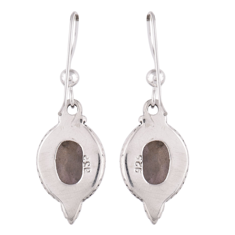 92.5 Sterling Silver Earrings Studded With Round Citrine In Holy Cross Design