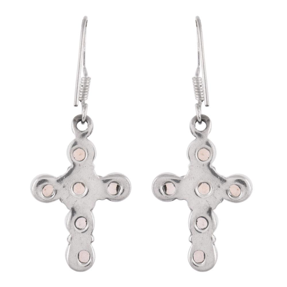 92.5 Sterling Silver Earrings Lapis Lazuli stone Bezel Set With A Cross Design On Top