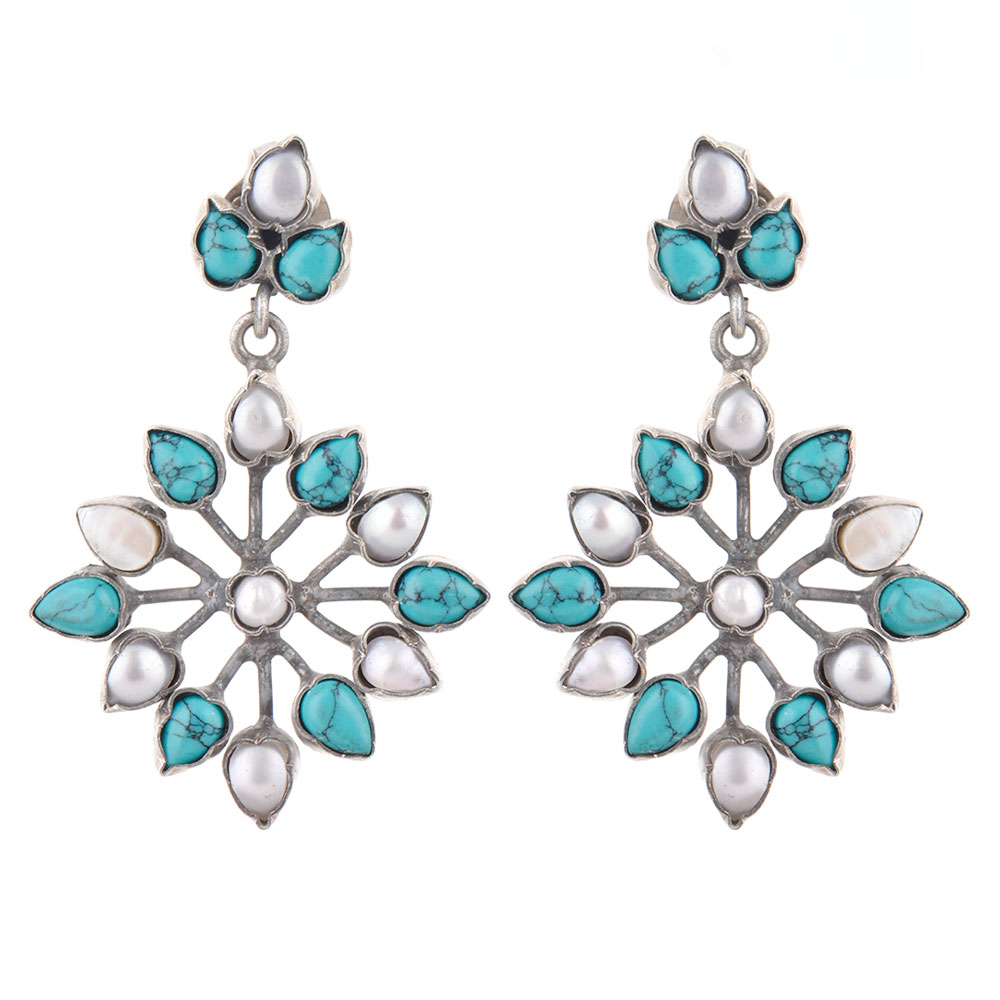 92.5 Sterling Silver Earrings Turquoise And Pearl Flower Design Drop Earrings