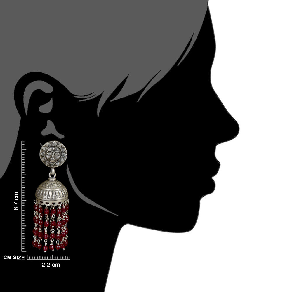 92.5 Sterling silver Earrings Sun God Face Red Onyx Stone Beads Jhumkis