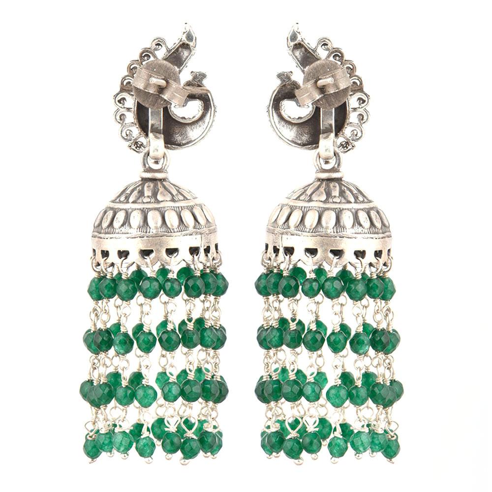 92.5 Sterling Silver Earrings Peacock Stud Green Onyx Stones Chandelier Jhumkis