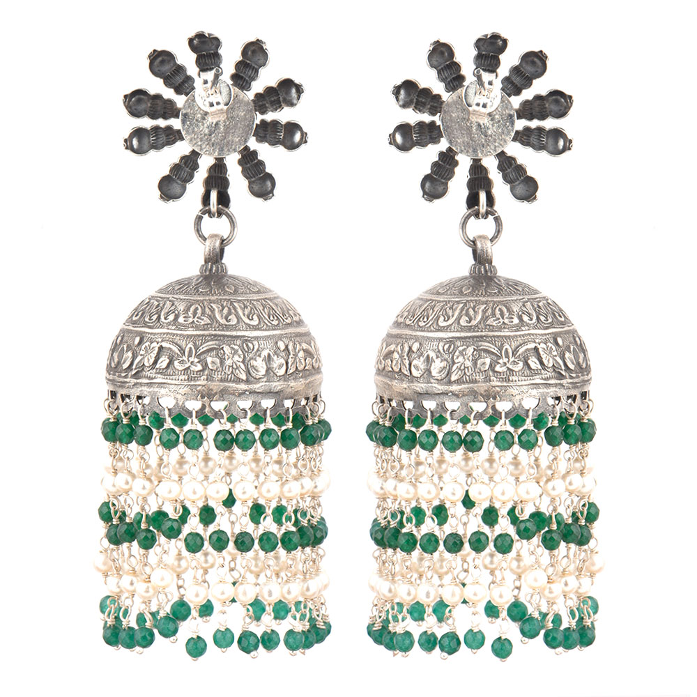 92.5 Sterling Silver Earrings  Big Sunflower Stud Jhumkis With Green onyx Beads Tassels