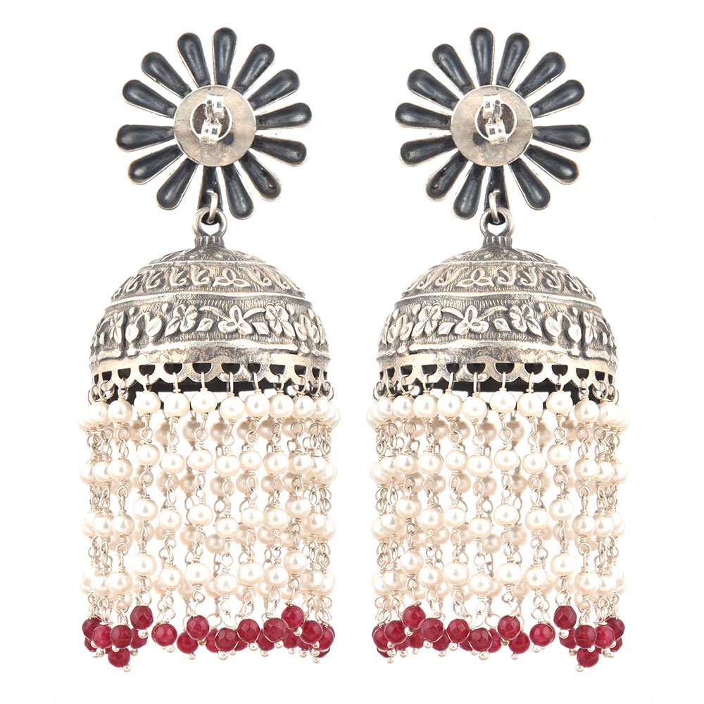 92.5 Sterling Silver Earrings Big Petals Flower Stud With Silver Beads And Red Onyx Beads Jhumkis