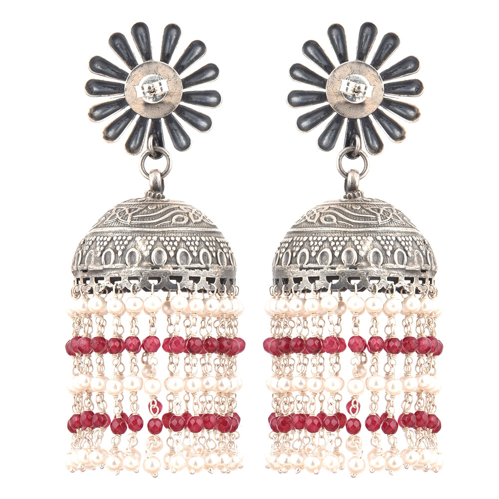 92.5 Sterling silver Earrings Big Flower Stud With Small Silver Beads With Red Onyx Chandelier Earrings