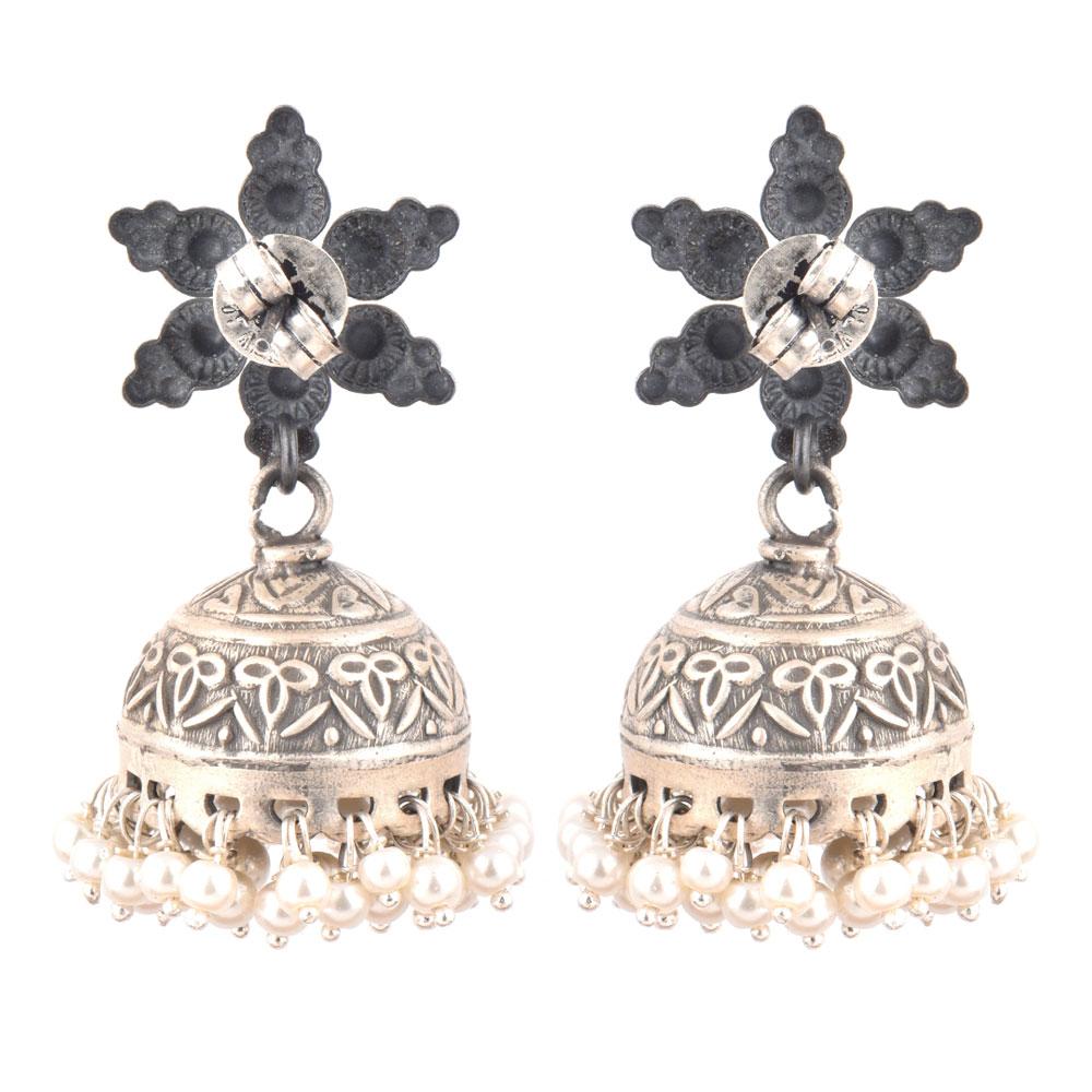 92.5 Sterling silver Earrings Engraved Big Floral Stud and Tassels silver jhumkis