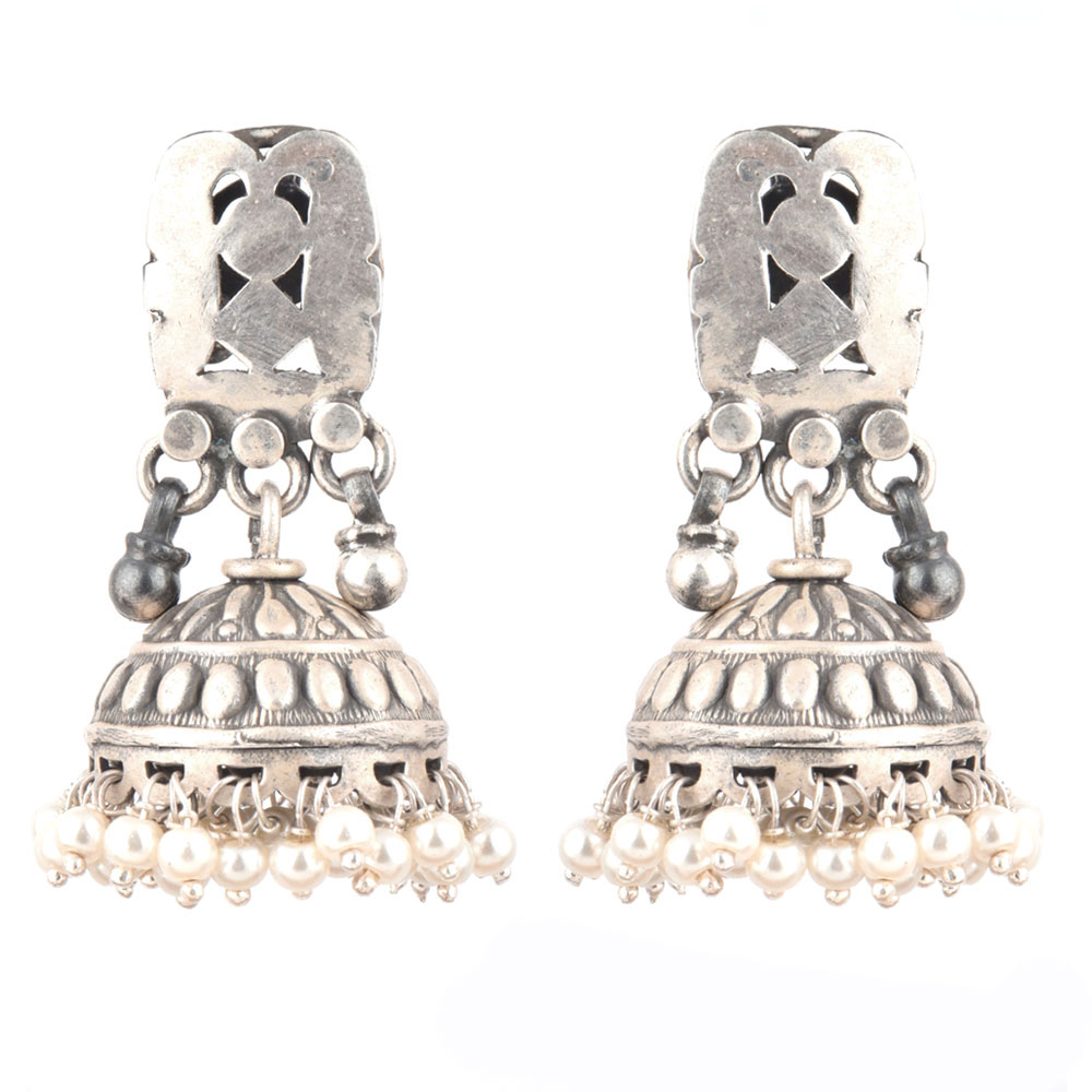 92.5 Sterling silver Earring Geometric Engraved Jhumkis With Silver Beads Tassels