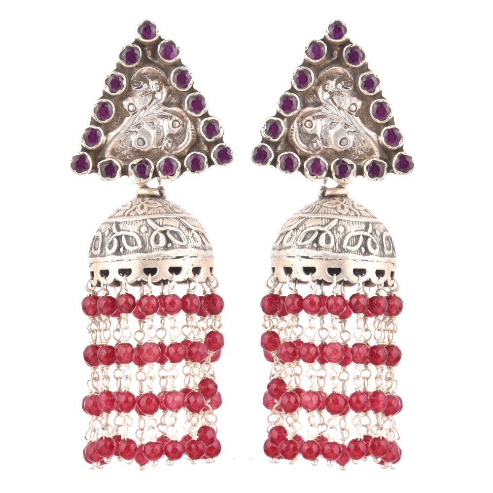 92.5 Sterling Silver Earrings  Amethyst Triangular Stud Red Onyx Tassel Jhumki Earrings