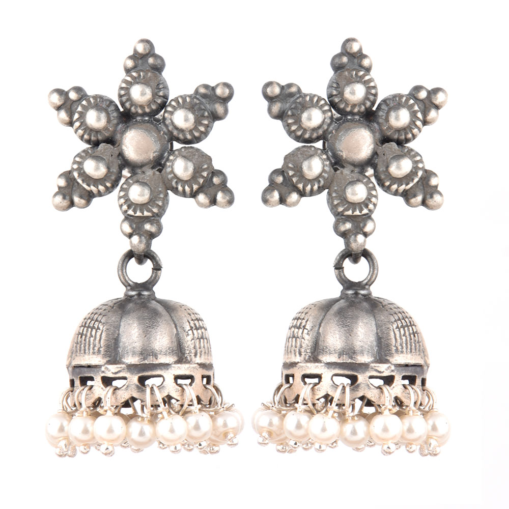 92.5 Sterling Silver Oxidized Earrings Big floral Hanging Jhumkis With Silver Tassels Earrings