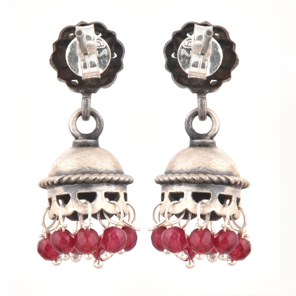 92.5 Sterling Silver Earrings Floral Stud Silver Jhumki With Red Onyx Tassel Earrings