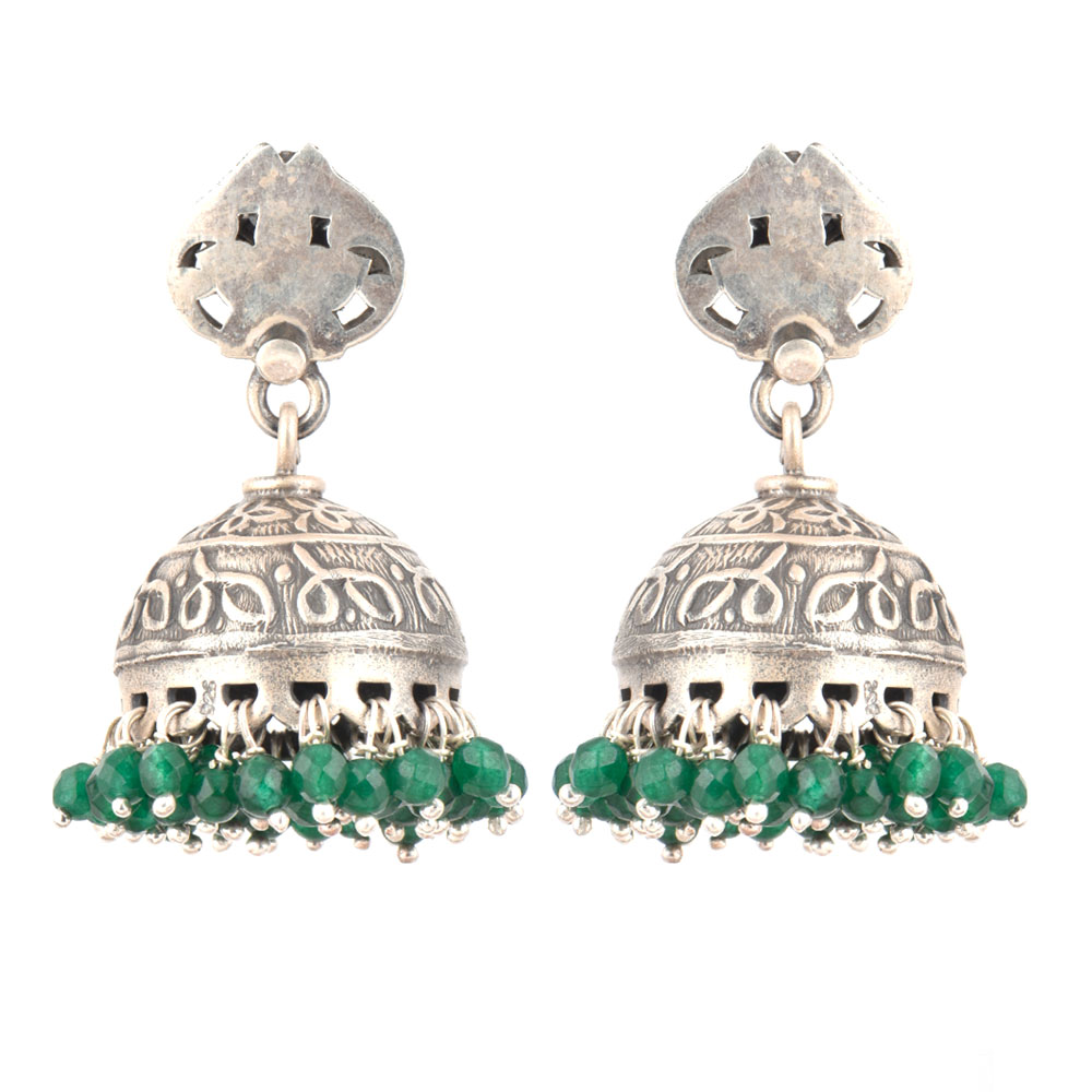92.5 Sterling silver Earrings Abstract design Oxidized Silver jhumkis and Hanging Green Onyx Tassels