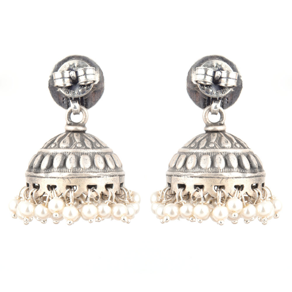92.5 Sterling silver Earrings Round  Peacock Embossed design jhumki Silver beads tassel Earrings