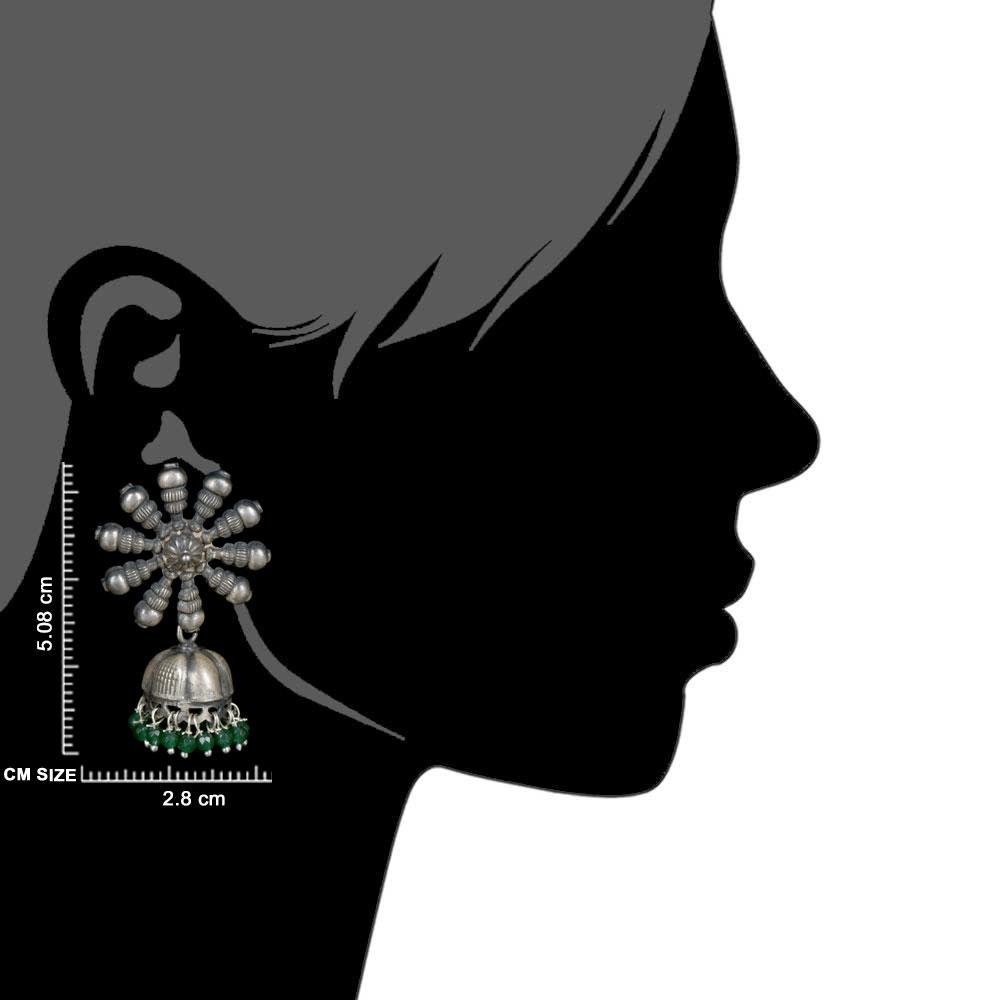 92.5 Sterling Silver Earrings Big Flower Jhumki Green Onyx tassel Hanging  Beads