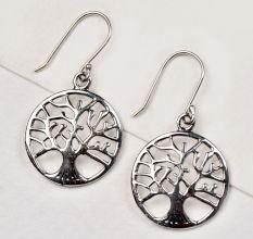 92.5 Sterling Silver Earrings Round Tree Of Life Drop Earrings