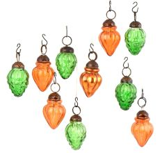 Set of 10 Handmade Orange And Green Mini Christmas Ornaments In Assorted Styles