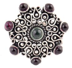 Amethyst Scrolled 92.5 Sterling Silver Ring Traditional Wear (Free Size)