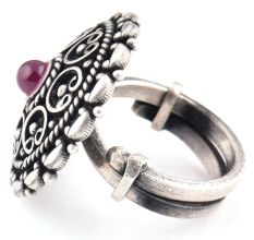 Indian 92.5 Sterling Silver Ring  Filigree Design Round Amethyst Ring For Women (Free Size)