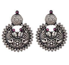 Oxidized 92.5 Sterling silver Earrings Chandbali Peacock Big Floral Formal Wear For Women