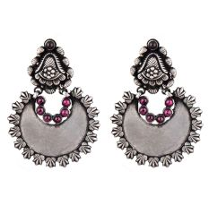 92.5 Sterling Silver Earrings Chandbali Leafy Pattern Amethyst Stone Ring Border Dangler
