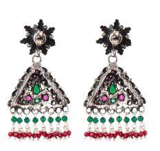 Multicolored Triangular Sterling Silver Earrings Stone Studded jhumki
