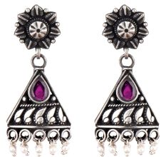 Triangular 92.5 Sterling Silver Earrings With Big Teardrop Amethyst And Pearl Bead Hangings
