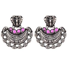 Butterfly Stud 92.5 Sterling Silver Earrings Chanbali Decorated With Pink Fuchsia Beads