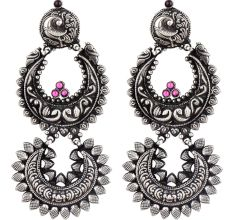 Long Peacock Design 92.5 Sterling Silver Earrings Two Layers Floral Design Pink Fuchsia Chandbali Danglers