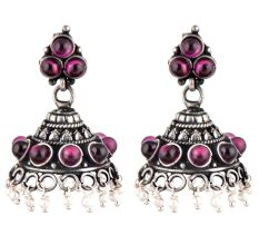 92.5 Sterling silver Earring With Amethyt Stones And Pearl Beads Hanging  Jhumki For Girls