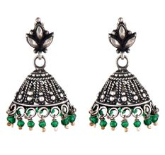 92.5 Sterling Silver Earrings Engraved Floral Stud Green Onyx Beads Jhumki