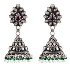 Floral Amethyst 92.5 Sterling Silver Earrings With Green Onyx And Pearl Hangings