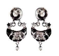 92.5 Sterling Silver Earrings Goddess Laxmi Tribal Geometric Pattern Chandbali Earrings