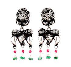Rose Stud 92.5 Sterling Silver Earrings Big Motifs Chandelier Earrings With  Pink Jade Quartz