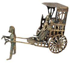 Brass Rickshaw Man Pull Driven Cart