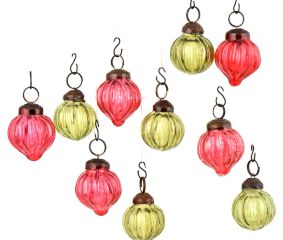 Set of 10 Handmade Olive And Pink Mini Christmas Ornaments In Assorted Styles