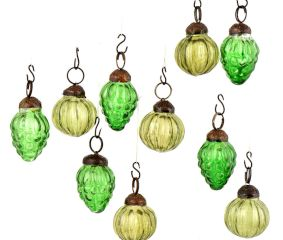 Set of 10 Handmade Olive And Green Mini Christmas Ornaments In Assorted Styles