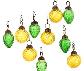 Set of 10 Handmade Yellow And Green Mini Christmas Ornaments In Assorted Styles