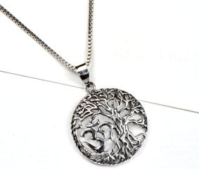92.5 Sterling Silver Pendant Tree of life And Aum Design