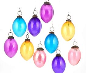 Set Of 10 Multicolored Christmas Ornaments Pear Shaped Christmas Tree Hangings