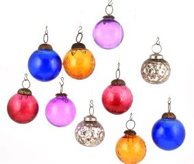 Set of 10 Glass Christmas Ornaments Silver Lined Multicolored Ball Shape Hangings