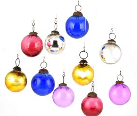 Set Of 10 Multicolored Ball Christmas Ornaments Or Hangings