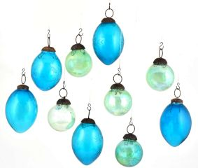 Set Of 10 Glass Christmas Ornament Different Shades of Blue In Assorted  Shapes