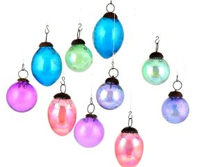 Set of 10 Glass Ornaments Christmas Tree Decoration