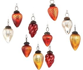 Set Of 10 Assorted Glass Christmas Ornaments In Different Colors