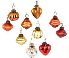 Set Of 10 Glass Christmas Ornaments In Fiery Orange And Assorted Styles