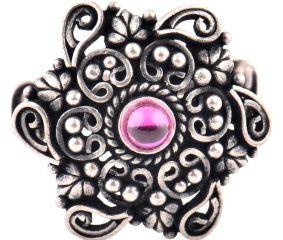 Leafy Scroll 92.5 Sterling Silver Ring Engraved Festive Wear Fashion Accessory (Free Size)