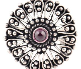 Oxidized 95.5 Sterling Silver Ring Floral Design  Statement Jewelry (Free Size)