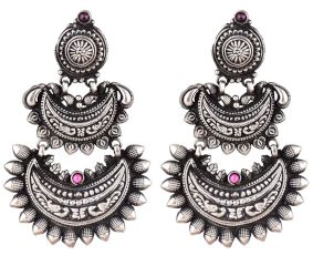 Three Layered 92.5 Sterling Silver Earrings Chandbali Pink Fuchsia Intricate Floral Design