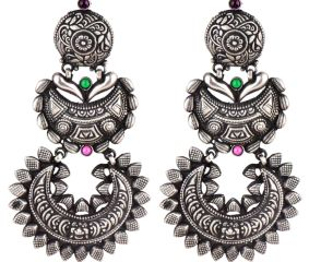 Three Layered 92.5 Sterling silver Earrings Engraved Design With Green Peridot and Pink Fuchsia Jade Stone