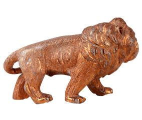 Aluminum Metal Based Roaring Lion Statue With Copper Finish