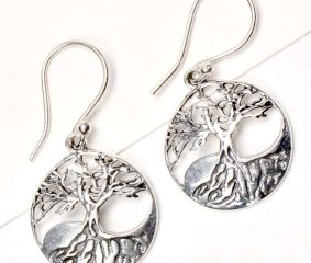 92.5 Sterling Silver Earrings Tree Of Life Wide With Long Roots Drop Earrings