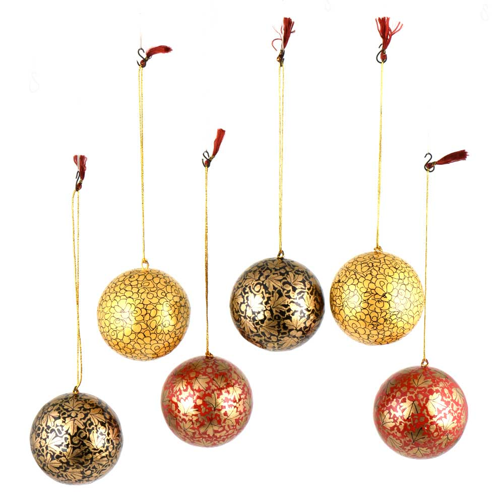 Hand painted Paper Mache Ball Ornaments Golden Leafy Pattern (Set Of 6)